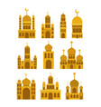 eid mubarak set temples facades colorful vector image