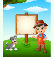 farmer cartoon on farmland with blank sign vector image vector image