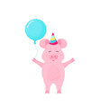 funny pig in with striped hat and with balloon at vector image vector image