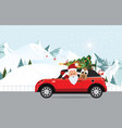 funny santa claus and reindeer is driving a red vector image vector image
