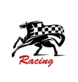 galloping horse with racing flag for sport design vector image vector image