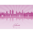 Ghent skyline in purple radiant orchid vector image vector image