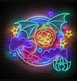 glow halloween greeting card with flying vampire vector image