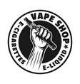 hands hold electronic cigarette emblem vector image vector image