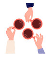hands holding cups coffee tea in woman hand vector image vector image
