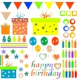 happy birthday design elements vector image