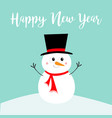 happy new year snowman standing on snowdrift vector image