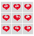 icon set red heart emotions vector image