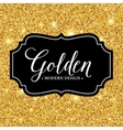 Label frame silhouette on the gold glitter vector image