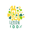 lemonade 100 percent logo template natural healthy vector image vector image
