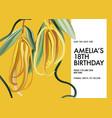 macro ylang ylang flower yellow birthday greeting vector image
