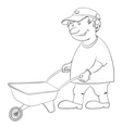 man with wheelbarrow vector image vector image