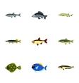 Marine fish icons set flat style vector image vector image