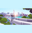 modern town with skyscrapers and monorail train on vector image