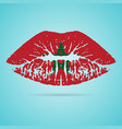 morocco flag lipstick on the lips isolated on a vector image