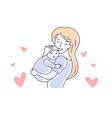 motherhood mother and child mom looking at baby vector image vector image