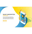 music subscription service landing page website vector image vector image
