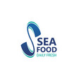 seafood icon of daily fresh sea food emblem design vector image