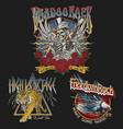 set vintage rock concert style t-shirt designs vector image vector image