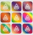 skyscraper icon Nine buttons with bright gradients vector image vector image