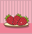 strawberries on dish fresh fruit tasty vector image