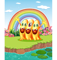 Three monsters near the pond vector image vector image