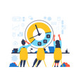 time management concept people work hard in vector image