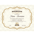 Vintage retro frame certificate background vector image vector image