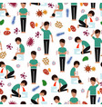 viral diseases seamless pattern - medicinal vector image vector image