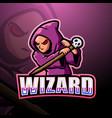 wizard mascot esport logo design vector image vector image