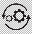 workflow icon on transparent flat style gear and vector image vector image