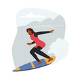 young surf girl character riding ocean wave vector image