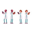 male and female doctor with tablet vector image