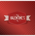 Valentines Day Banner with Text and white Ribbon vector image