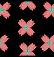 abstract seamless retro flowers pattern on black vector image vector image