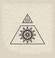 all seeing eye vintage background vector image vector image