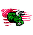 angry bull logo symbol american flag vector image vector image