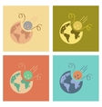 assembly flat icons nature meteorite earth vector image vector image