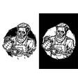barista skull vector image vector image