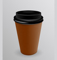 brown and black paper cup for hot coffee vector image vector image
