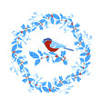 bullfinches and christmas wreath of holly vector image