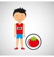 cartoon boy athlete with tomato vector image vector image