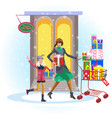 cartoon cheerful mother with daughter shopping vector image vector image