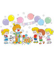 circus clown and children vector image vector image