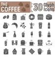 coffee glyph icon set coffee shop symbols vector image vector image