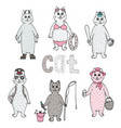 colorful hand-drawn set of cute cats vector image