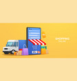 concept online service delivery goods smartphone vector image