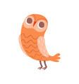 cute cartoon orange owlet bird character vector image vector image