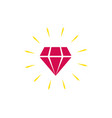 diamond icon isolated shiny brilliant flat vector image vector image