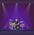 drummer at stage with purple lights vector image vector image